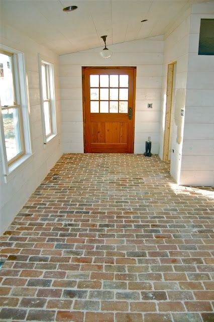 farmhouse mudroom brick floor