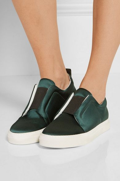 White rubber sole measures approximately 25mm/ 1 inch Emerald satin Slips on Large to size. See Size & Fit notes.