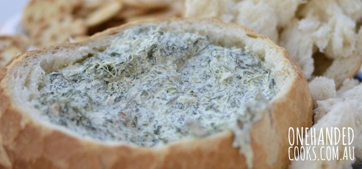 Spinach Dip in Cob Loaf - One Handed Cooks