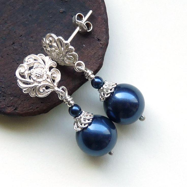 srebrne kolczyki z perłami swarovskiego #jewelry #pearls cudosfera.pl