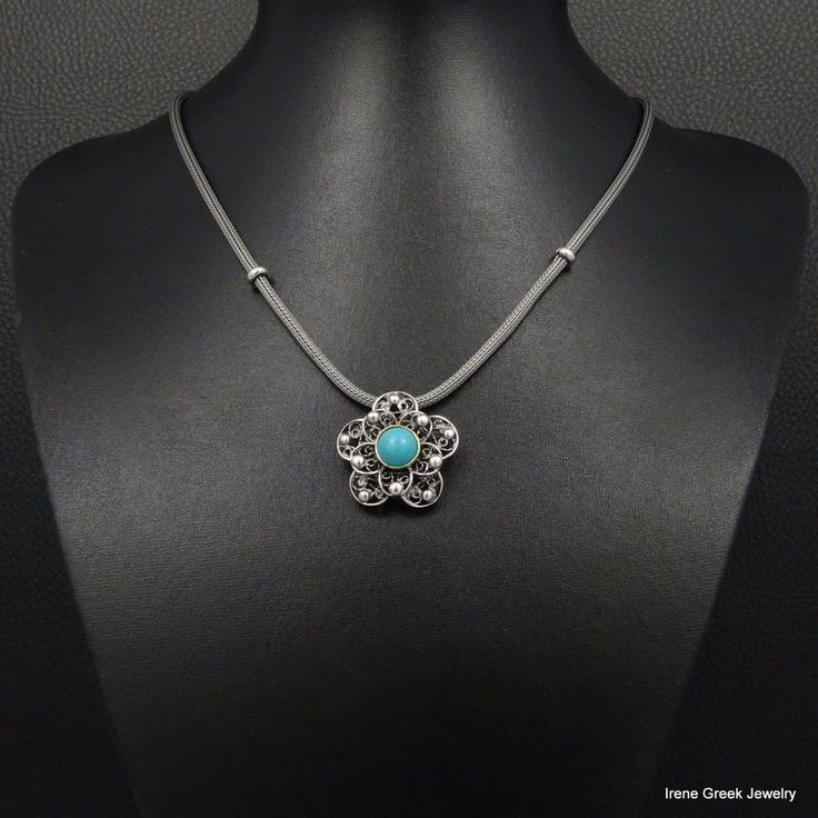 BIG TURQUOISE FILIGREE FLOWER STYLE 925 STERLING SILVER GREEK HANDMADE NECKLACE #IreneGreekJewelry #Pendant