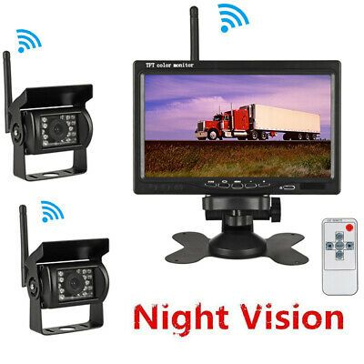 """9/"""" Monitor 4 x Wireless Rear View Backup Night Vision Camera For RV Bus Truck"""