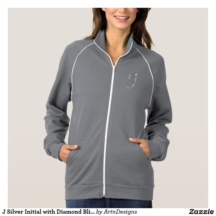 J Silver Initial with Diamond Bling Embellishment Jacket