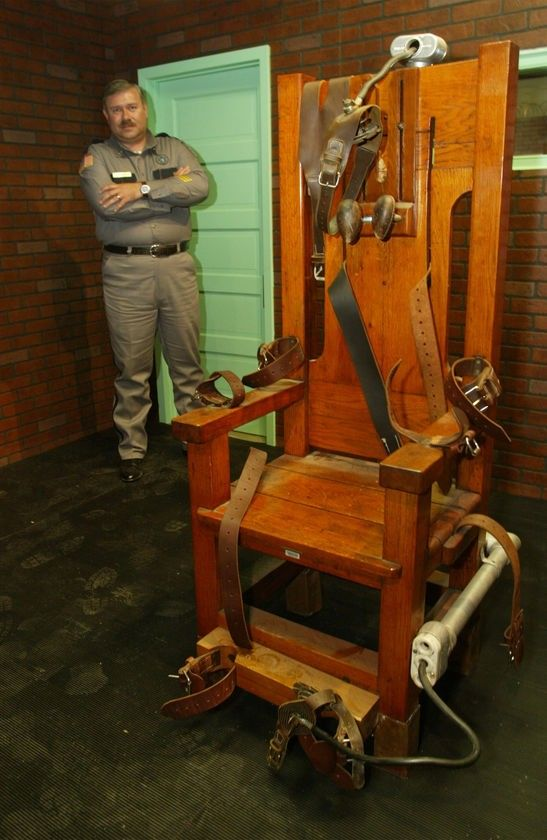 """The now-retired """"Old Sparky"""" electric chair on exhibit at the Texas Prison Museum in Huntsville.   Ted Bundy is among 240 inmates executed in Florida's electric chair since 1924. www.hardrockhorror.com"""
