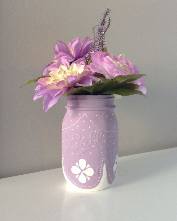 Princess Painted Mason Jar, Sofia the First Inspired, Princess Birthday Party, Purple Centerpiece, Girls Birthday, Sofia the First Dec
