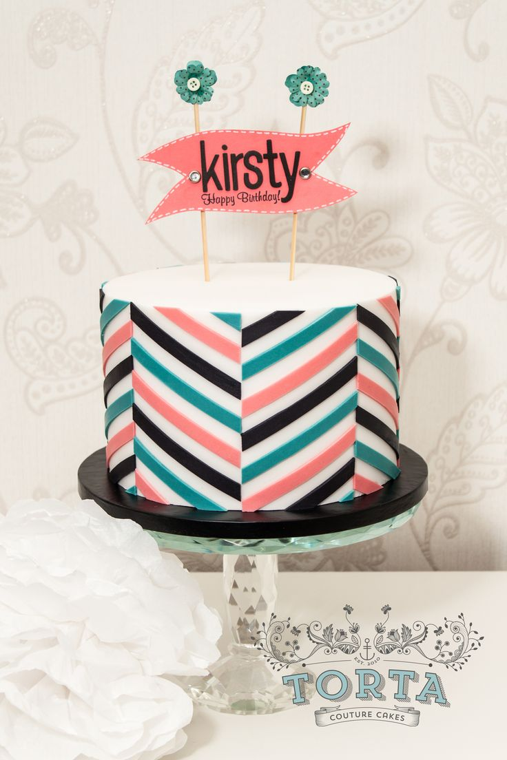 Offset Chevron Birthday Cake Offset Chevron Birthday Cake A birthday cake covered with an offset chevron design as made famous by Jessicakes. The inside of the cake is...