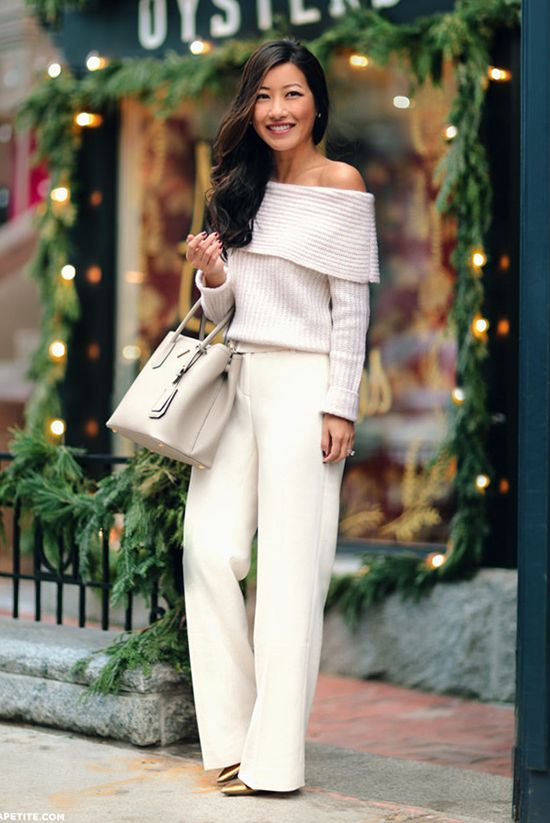 aFall / Winter - street style - street chic style - winter outfits - casual outfits - fall outfits - business casual - work outfits - office wear - all white - party outfits - white off the shoulder sweater + white wide leg pants + white handbag + gold pumps