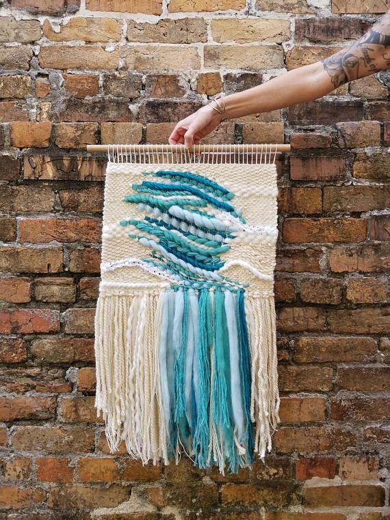 Aquamarine! Woven Wall Hanging. March Birthstone. #aquamarine #march #wovenwallhanging #etsy