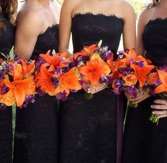 My colors will be very similar to this! Fall colored bouquets with touches of purple!: Black Lace, Orange Wedding, Bridesmaid Dresses, Color, Lace Bridesmaid, Bouquets, The Dresses, Lace Dresses, Flower