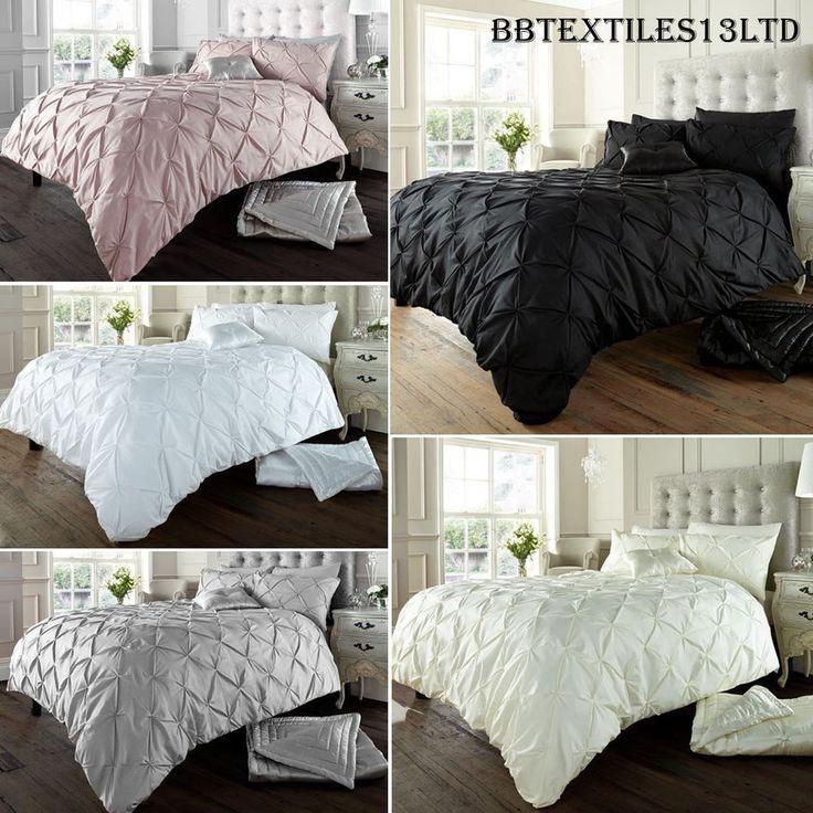 Diamond Pintuck Duvet Cover Set With Pillow Cases, Luxury Bed Linen Quilt Sets #CG #Modern