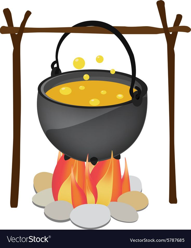 kettle hanging over fire royalty free vector image  fire