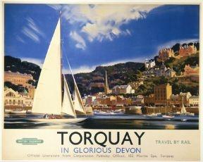 British Railways Travel Poster Print, Torquay in Glorious Devon Southern England, Travel by Rail