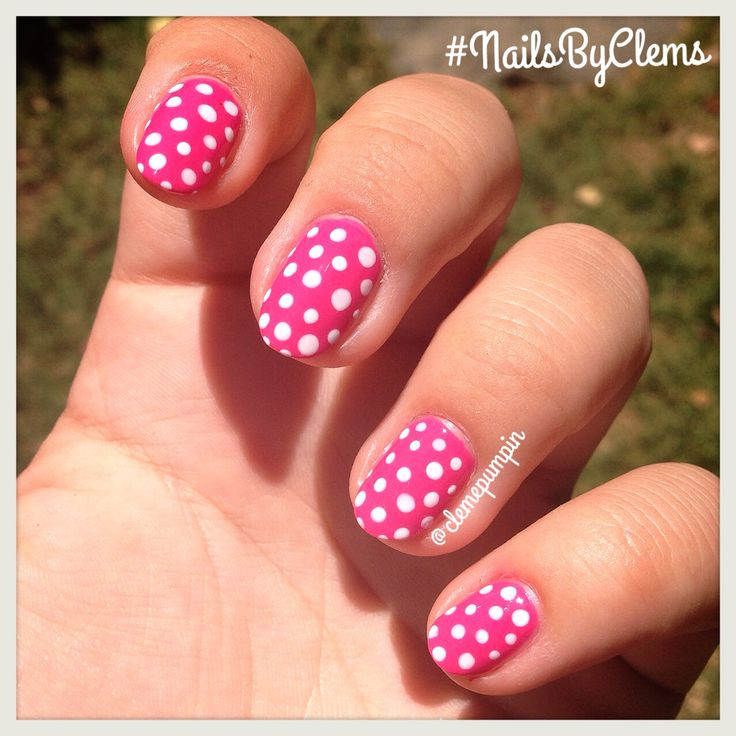 """Hi there girls! My #notd showing off some #polkadot over the amazing """"Laced Up"""" #pink by @chinaglazeofficial  hope you like it! #nails #nailart #nailsdid #nailswag #nailstyle #naildesign #nailartchile #nailartdaily #nailsbyclems #nailartjunkie #dotticure #dots #summer #fun #mani #manicure #color #chic #uñas #unhas #unhasdasemana"""
