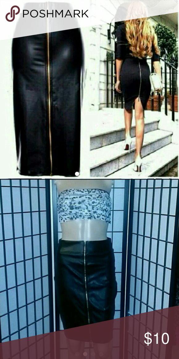 Black pencil skirt Faux leather Skirts Midi