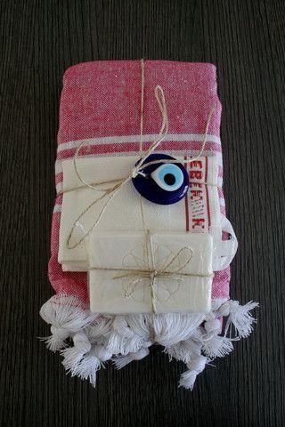 Pink Stripe Turkish Bath Peshtemal Christmas Gift Set
