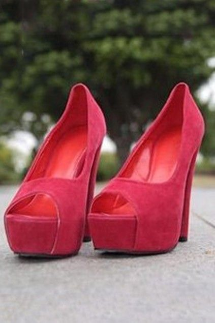 Women's Red Platform/Fetish Shoes UK Size 6 (39)