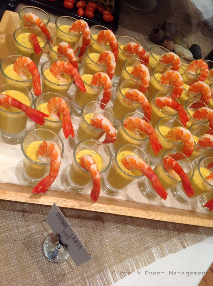 Canape fresh tiger prawn laksa shots catering cloud 9 for Canape yam but