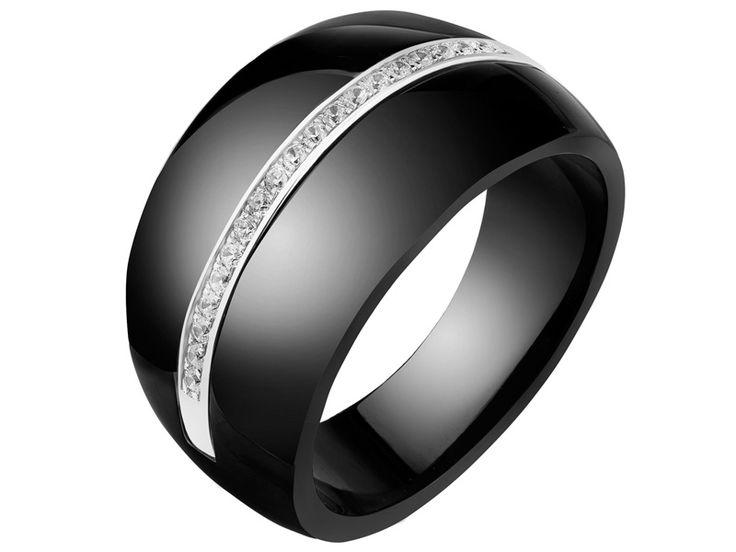 Pierścionek srebrny z ceramiką i cyrkoniami | Apart