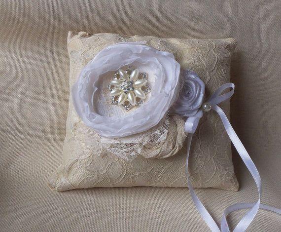 Кружева Сельский Свадьба Подушка, мешковину кольцо предъявителя подушку, мешковину кольцо подушки, потертый шик натурального льна