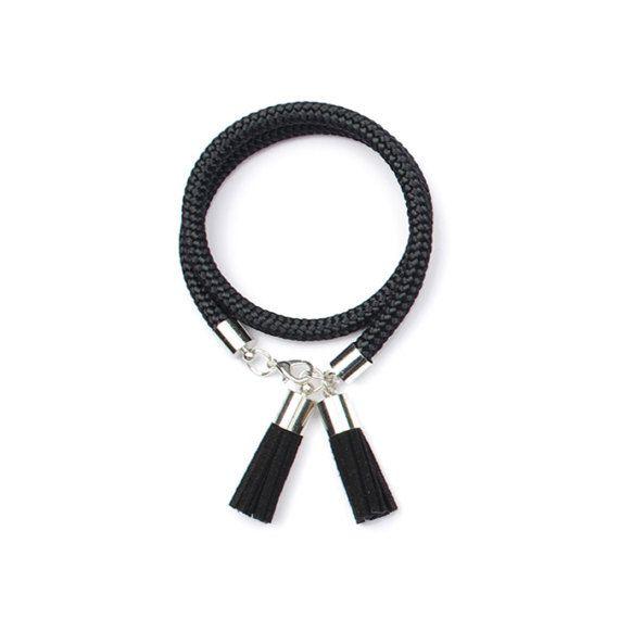 Black Tassel Bracelet. Rope Bracelet. Nautical jewelry. by casseljewelry #fashion #handmadejewelry #handmade #jewelry #unique #design #casseljewelry #fashionjewelry #jewelrydesign #etsy #ShopEtsy #EtsyFinds #EtsyForAll