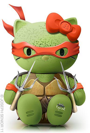 AwesomeCrazy Cats, Design Inspiration, Hello Michelangelo, Pop Culture, Ninjas Turtles, Tmnt, Hellokitty, Ninja Turtles, Hello Kitty