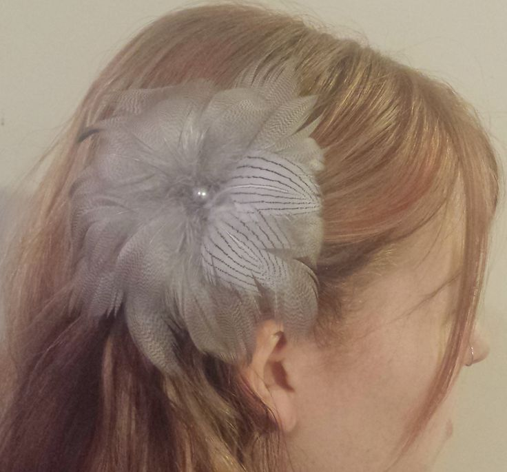 Beautiful, Classy, Natural Siver-Grey With Natural White Striped Duck Feather Flower Fascinator   $18.00 CAD  on Etsy For more information regarding this item and others, please visit : www.etsy.com/shop/PeachesPlumageWorks