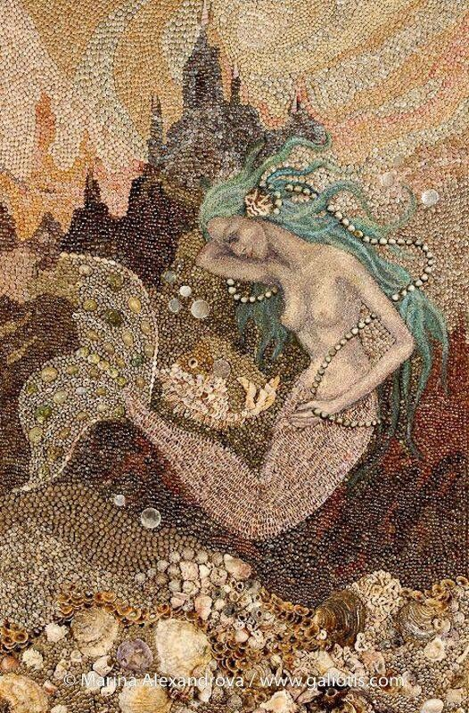 147 best images about seashells on pinterest starfish for Seashell mosaic art