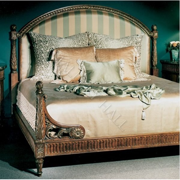 French Victorian Striped Headboard Panel Bed