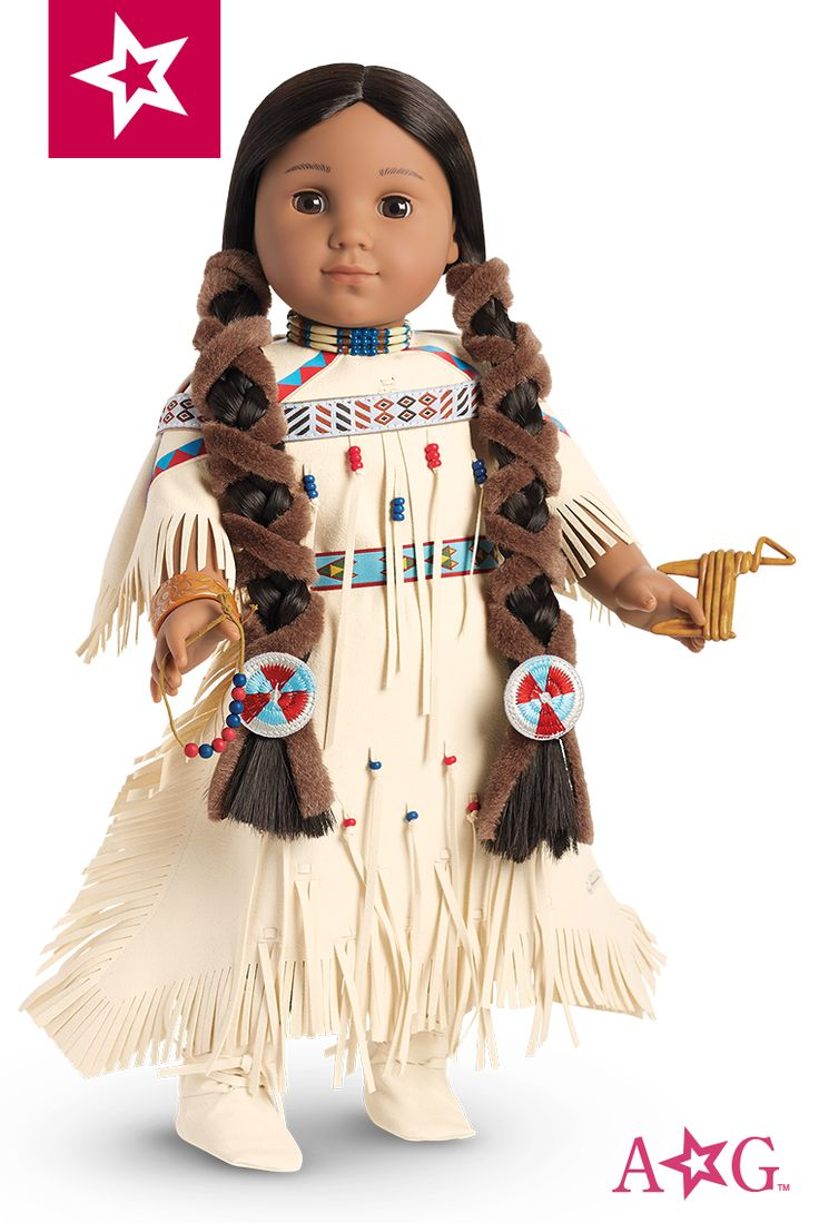Kaya wears a decorated dress to show her skills when she trades with nearby tribes. The deerskin is fringed and features geometric designs Kaya created herself. The colorful belt is made with dyed porcupine quills that showcase Kaya's embroidery. Includes a pair of lace-up moccasins. $36