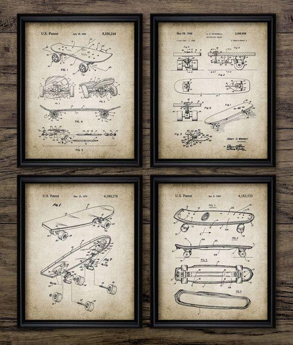 Skateboard art for boys room decor set of 6 unframed skateboard patent prints