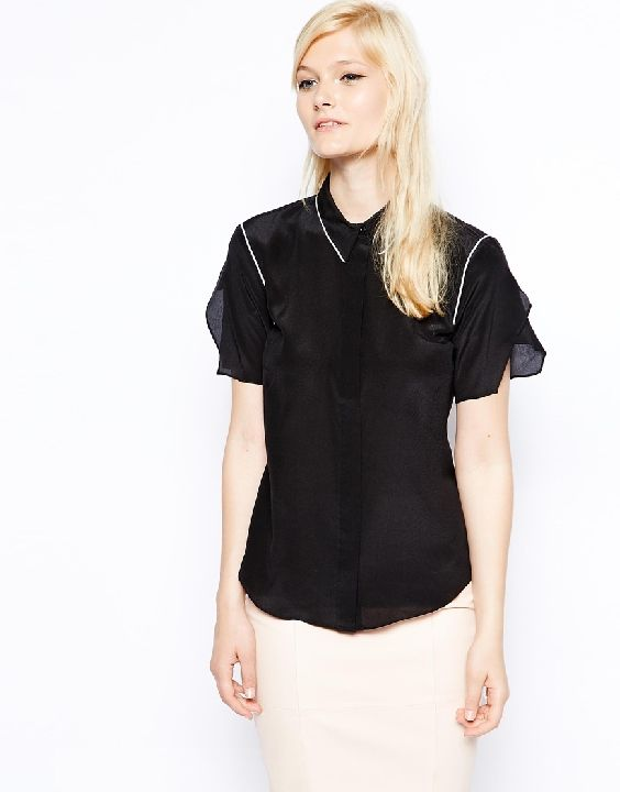 Antipodium Autobahn Silk Blouse at ASOS - architectural sleeve detail will add edge to your classic work outfits.
