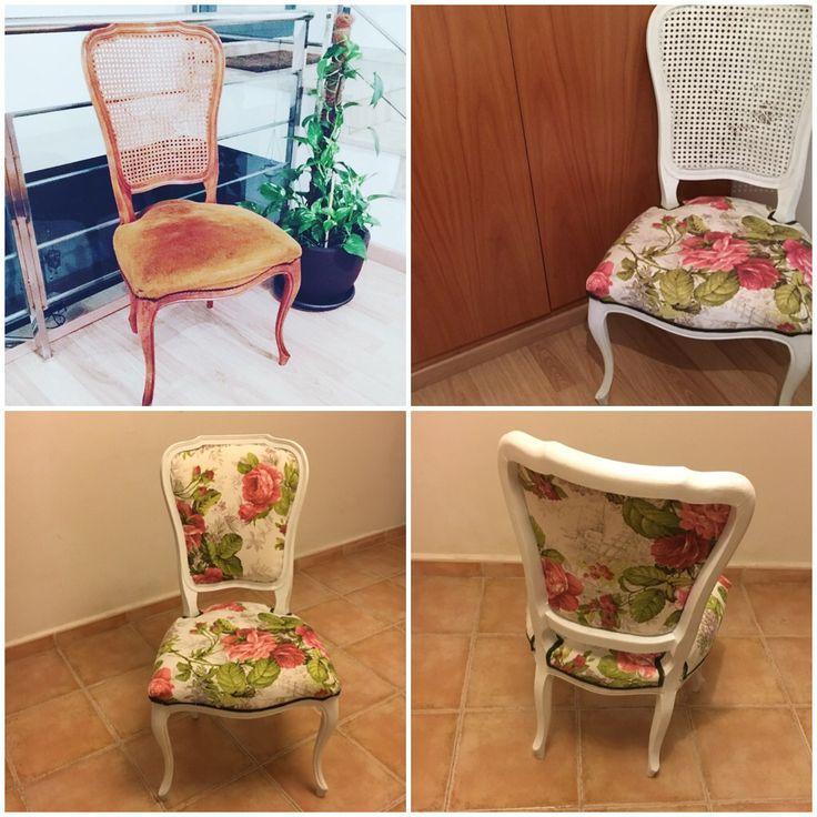Proceso de restauración de una silla.