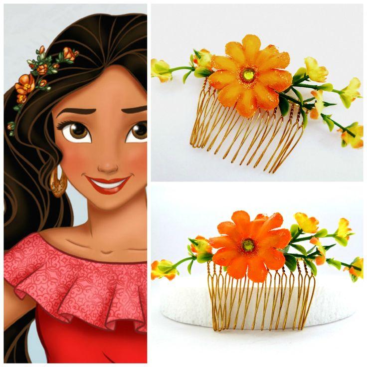 ELENA OF AVALOR Orange Hair Flower Hair Comb ,Princess Elena Of Avalor Flower Hair Comb ,Princess Elena Costume,Elena Party by LikeTheStars on Etsy https://www.etsy.com/listing/478870617/elena-of-avalor-orange-hair-flower-hair