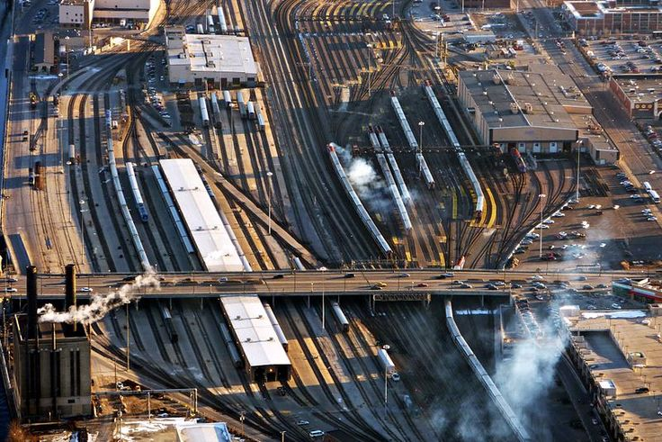 Amtrak And Metra Rail Yard At Roosevelt Along The Chicago