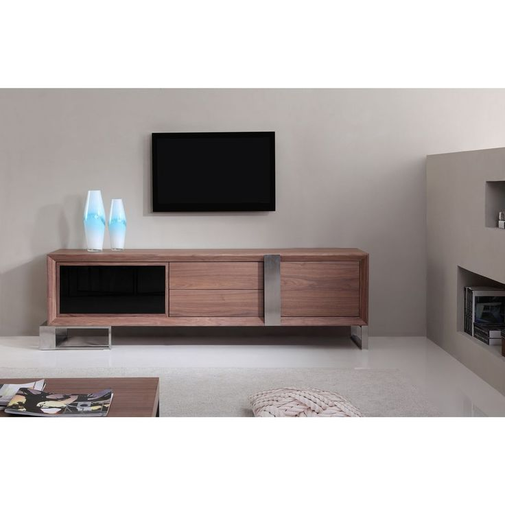 Entertainer Light Walnut/Stainless Steel Modern TV Stand with IR Glass #Unbranded #ContemporaryModern