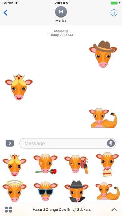 Hazard Orange Cow Emoji Stickers by Marisa Marquez