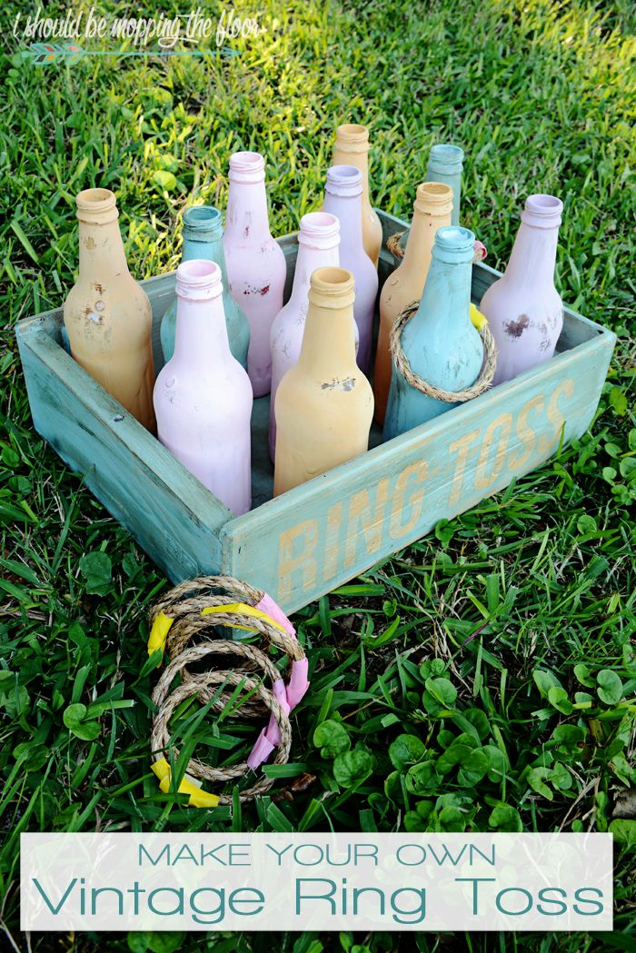 This fun, tropical-colored DIY Vintage Ring Toss is easy to put together...and will create loads of awesomeness for backyard parties.