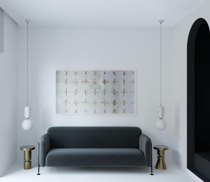 monochrome interior sofa massproductions stools anna karlin parachilna lighting