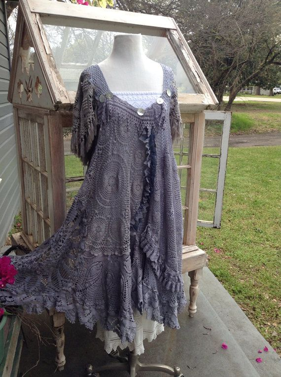 Boho Gypsy crochet dress by Luv Lucy  by LuvLucyArtToWear on Etsy, $350.00