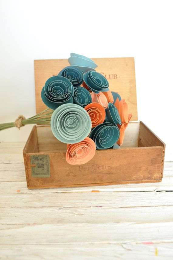 30 Orange and Teal Paper Flowers on Stems- Fall Bouquet of Paper Flowers-  Orange and Teal Wedding Decor via Etsy