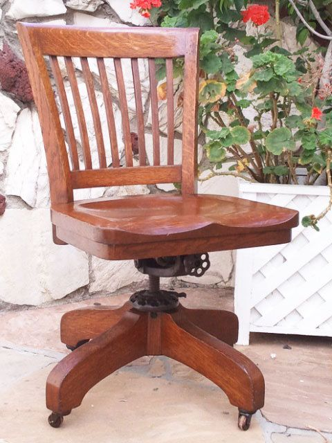 Antique Bankers Oak Rolling Desk CHAIR 1920s Wood Casters