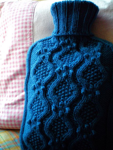 Haworth - hot water bottle cozy - free knitting pattern by Julie Zaichuk-Ryan.