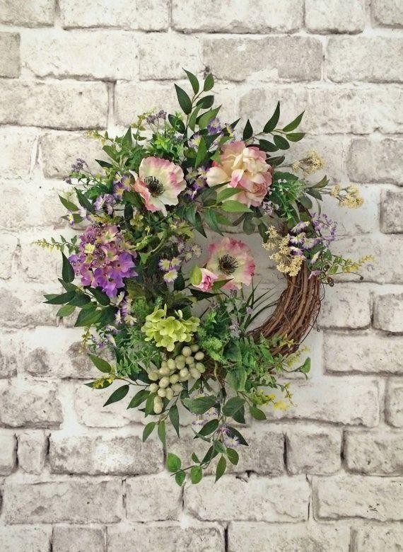 Spring Wreath Silk Floral Wreath Front Door Wreath
