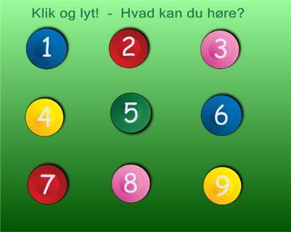 """Smart Notebook-lektion fra www.skolestuen.dk - """"Gæt en lyd! - En lytte- og samtaleøvelse"""" - Tryk på en knap, lyt godt efter og fortæl/skriv hvilken lyd du hører."""