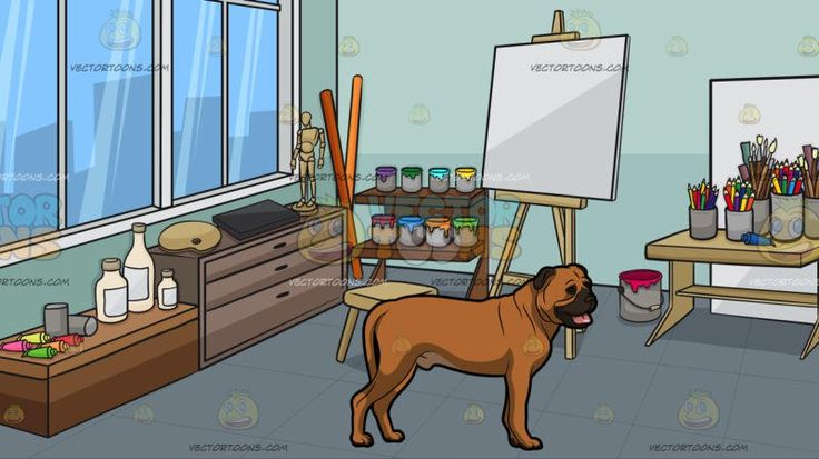 A Friendly Bull Mastiff Pet Dog With An Art Studio Background:  A big dog with light brown short fur dark brown muzzle eye border and droopy ears parts its lips to reveal a pink tongue and A room with light blue green walls glass window with white frame gray roller blinds set up as an art studio full of materials like blank canvases cans of paint shelves thinner paintbrushes in cans a stool easel and desk