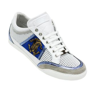 Roberto Cavalli Men's White and Blue Leather Sneakers. #sneakers #fashiondesigner #design #cavalli #robertocavallisneakers #menshoes #man #men #accessories #shoes #white #blue #fashion