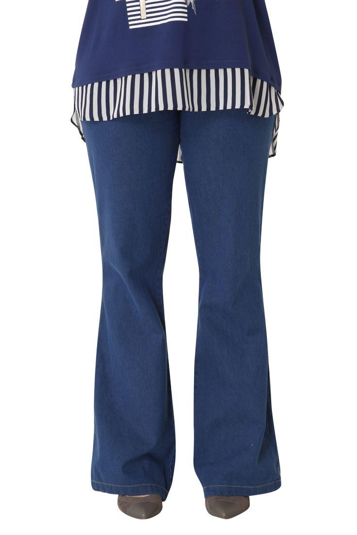 Τζιν παντελόνι πεντάτσεπο από μαλακό βαμβακερό ύφασμα, που αγκαλιάζει άψογα το σώμα! Το τελείωμα καμπάνα αναδεικνύει τέλεια τη σιλουέτα. Συνδυάστε το με t-shirt ή με κλασικό πουκάμισο για στυλάτες εμφανίσεις!