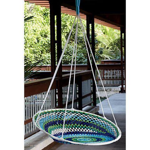 figueira swing chair in outdoor | CB2 DIY? Hula hoop + Crochet
