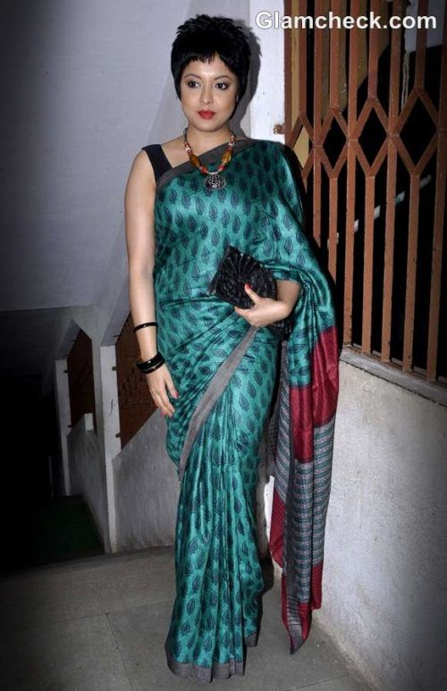 Short hairstyles for sarees for Indian women over 50 in