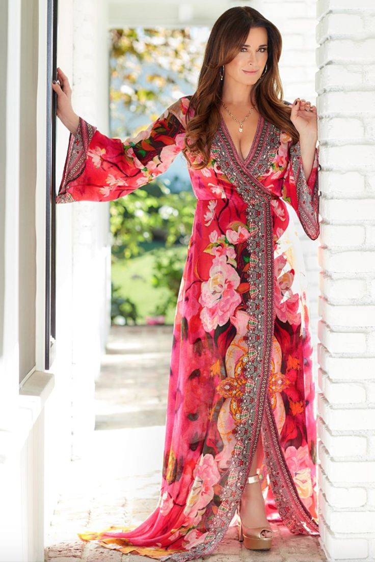 FUCHSIA ROSE FLORAL PRINTED LONG-SLEEVE MAXI WRAP DRESS AS SEEN ON KYLE RICHARDS